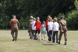 Drill with Colour Sergeant from World War Two living history group