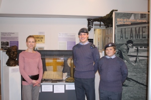 Flight Sergeant Christopher Bradbury and Cadet Luke Beard of 1213 Andover Squadron Air Training Corps with Kelly Mitchell at Andover Museum